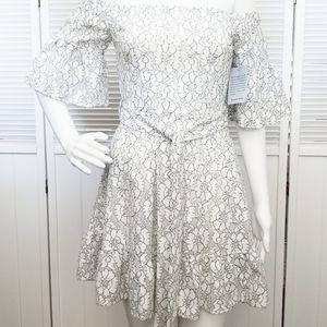 NWT J.O.A White Off The Shoulder Floral Dress